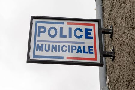street police municipale means in french Municipal police sign of local police of town and city in France