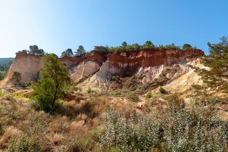 Colorado Provencal colorful rock formations from ocher in Provence France Stockfoto