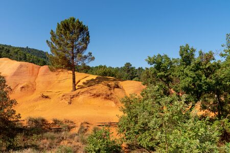 red landscape of Colorado Provencal in luberon France