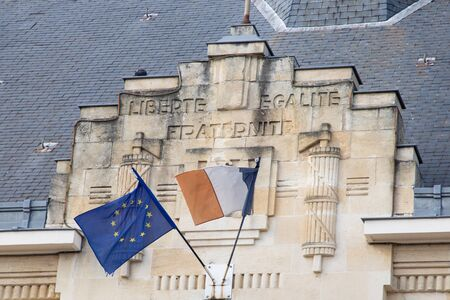 Europe Union EU with French flag on city hall in town France