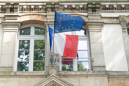 french and europe flag in city hall in town center France 写真素材