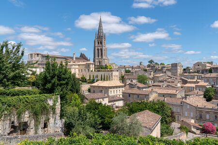 medieval town in Saint Emilion village with church tower in France