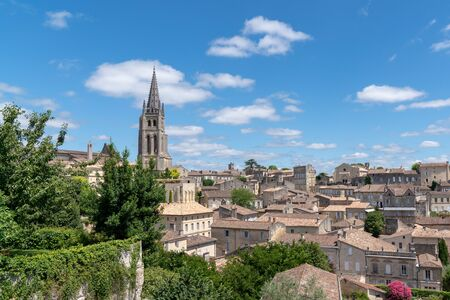 hilltop town of Saint-Emilion near Bordeaux surrounded by vineyards in France Stock Photo