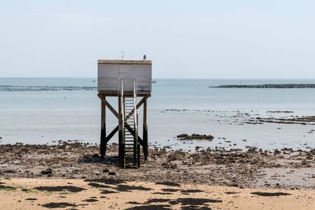 fisherman wooden hut in Aix island Charente maritime France in french Atlantic coast Stock Photo