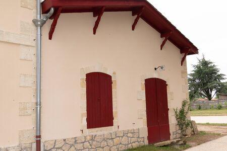 Typical Basque facades in Saint-Jean-de-Luz Basque Country France Banco de Imagens