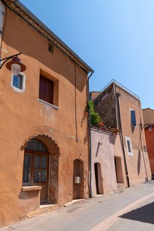 houses in historic ocher village Roussillon red village of Provence