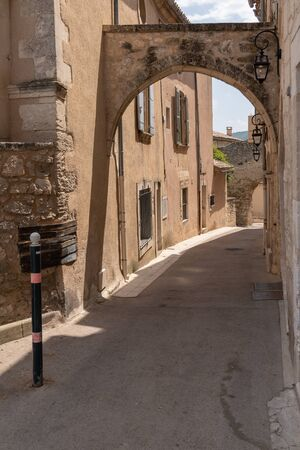 medieval arch in south village ancient Lacoste in Luberon Provence France