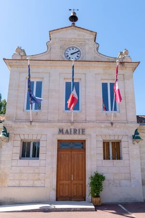 View at the Town hall city in margaux medoc in france