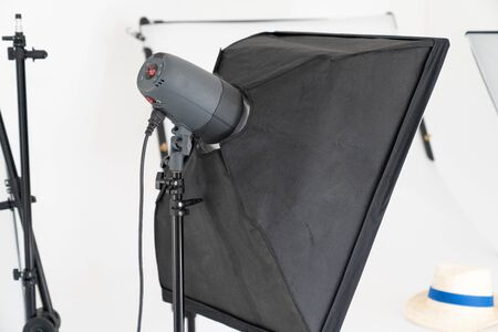 light box in photographic studio Interior of modern photo studio with professional equipment Stok Fotoğraf - 129574235