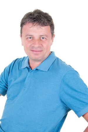 Handsome middle aged man on white background looking at camera