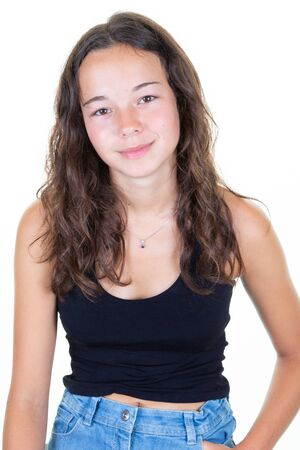 Portrait of young beautiful caucasian girl teen in black t-shirt cheerful smile looking at camera in Studio photo white background Stock Photo