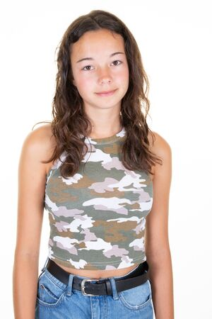 pretty beautiful teenager girl in fashion summer clothes in white background Stock Photo