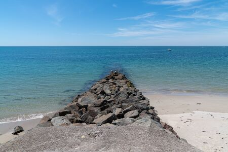 breakwater ears of anti-erosion rocks in Noirmoutier Vendée West of France