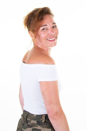 backside behind laughing woman against white background