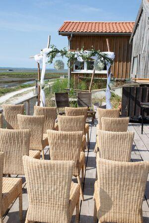 Wedding arch set up on the beach