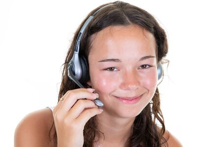 Beautiful call center consultant smiling woman with headset in white background