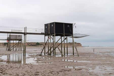 Fishing hut traditional fisherman on stilts in the south west of France, near Royan and Meschers-sur-Gironde in France Zdjęcie Seryjne