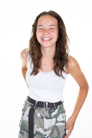 teenager girl happy young woman with white teeth wearing fashion clothes looking at camera with wonderful smile