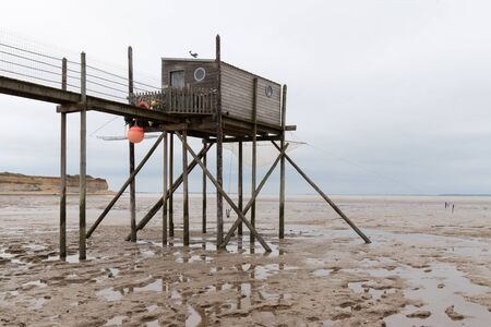 Small wooden fishing huts on stilts in Royan Charente France