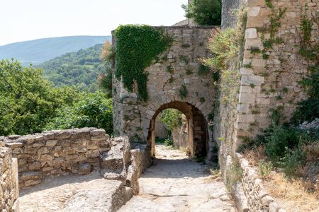 arch architecture of medieval village of Menerbes in Luberon area of Provence in France