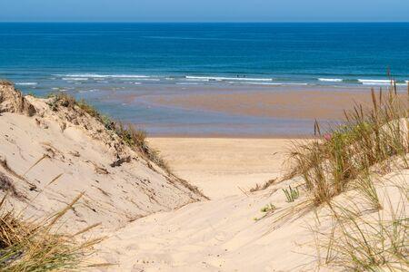 access dune and sea beach of Lacanau atlantic ocean in France