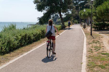alley ride bikeway for pedestrian and bike in La Rochelle France near Atlantic ocean
