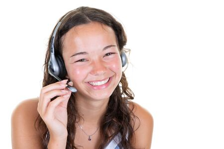Call center young pretty woman support phone operator in headset smile happy