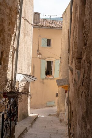small street in village of Bonnieux Provence France