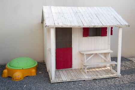 wooden house plastic sandbox for children in garden playground