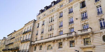 Bordeaux like Paris Haussmann buildings in chic area street city center in web banner template header