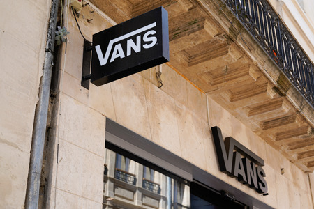 Bordeaux , Aquitaine  France - 09 18 2019 : Vans shop sign for store in city street american footwear shoes apparel company specialized in skateboard Редакционное