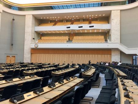 Geneva / Swittzerland - 02 06 2019 : United Nations in Geneva Concentric room meeting