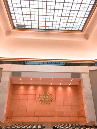 sign interior wall United Nations Office at Geneva headquarters of the League of Nations
