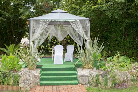 outdoor celebration wedding settings at scenic place