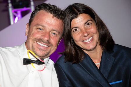 Romantic couple happy enjoying night party Stock Photo
