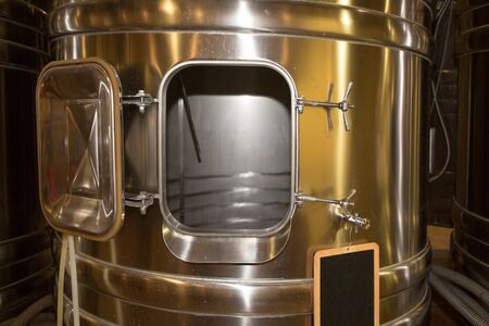 Modern wine factory with new large fermentation Tanks Wine Cellar stainless steel tanks 写真素材