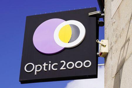 Bordeaux , Aquitaine  France - 09 24 2019 : shop sign Optic 2000 store french Optician glasses