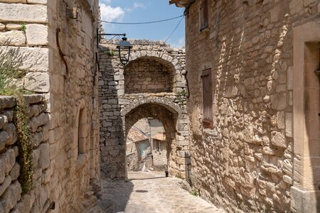 View on a small typical Provence Lacoste village France 版權商用圖片