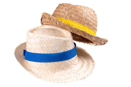 two straw hat vintage summer ribbon band isolated on white background