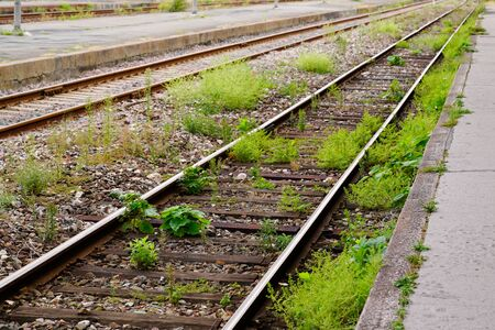 Old abandoned railroad overgrown with grass