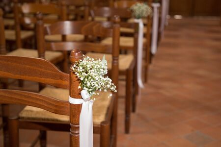 church decorated for wedding ceremony Stock Photo - 132114417