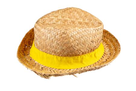 Summer beige ribbon band yellow straw hat on white background side view