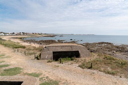 island of Noirmoutier german blockhouse deutch blockhaus remembering the second world war wwII on sea coast beach atlantic France