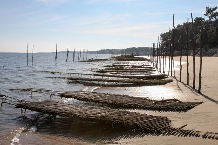 oyster region of Arcachon Bay in Canon village beach low tide Gironde France. Stok Fotoğraf