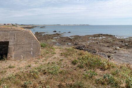 island of Noirmoutier France blockhouse blockhaus in tip of the Herbaudière Standard-Bild