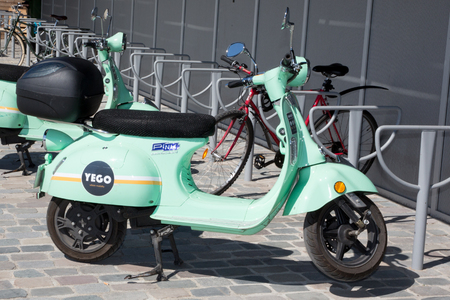 Bordeaux , Aquitaine  France - 03 28 2019 : yego e-scooter urban mobility scooter