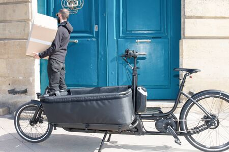 bikecycle cargo bike for delivery man urban city customer