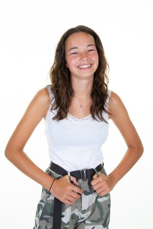 beautiful young slim and beautiful smiling teen girl with long curly hair