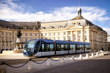 Bordeaux , Aquitaine / France - 10 17 2019 : City tram in Place de la bourse in Bordeaux, France