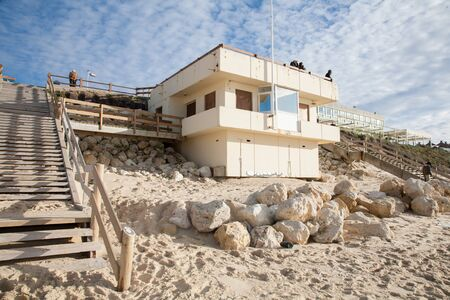 surveillance station lifeguard tower on a beach in city center Lacanau France